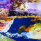 Abstract organic landscape watercolour and gouache on paper by Susan Wellington