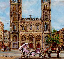 EGLISE NOTRE DAME CHURCH OLD MONTREAL ART CANADIAN PAINTING BY CAROLE SPANDAU CANADIAN ARTIST by Carole  Spandau