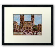 EGLISE NOTRE DAME CHURCH OLD MONTREAL ART CANADIAN PAINTING BY CAROLE SPANDAU CANADIAN ARTIST Framed Print