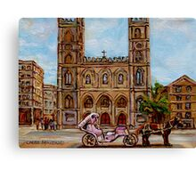 EGLISE NOTRE DAME CHURCH OLD MONTREAL ART CANADIAN PAINTING BY CAROLE SPANDAU CANADIAN ARTIST Canvas Print