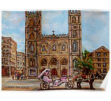 EGLISE NOTRE DAME CHURCH OLD MONTREAL ART CANADIAN PAINTING BY CAROLE SPANDAU CANADIAN ARTIST Poster