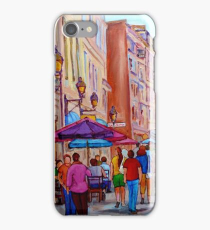 OUTDOOR RESTAURANTS OLD MONTREAL PAINTINGS OF CANADIAN CITIES BY CANADIAN ARTIST CAROLE SPANDAU iPhone Case/Skin