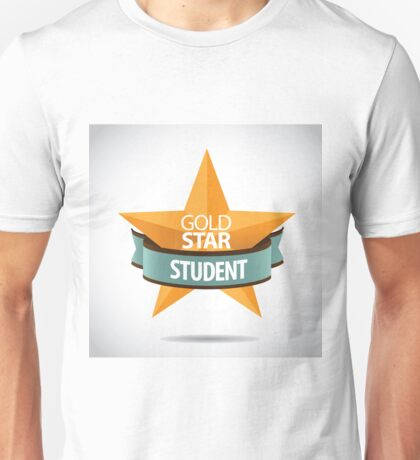 Gold Star Student 3D design with star and ribbon Unisex T-Shirt
