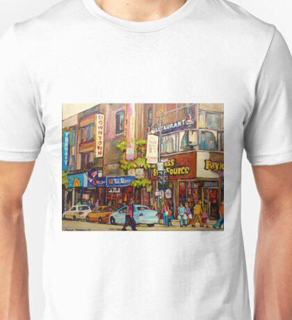 BUSY DOWNTOWN STREET SCENE CANADIAN URBAN SCENE BY CANADAIN ARTIST CAROLE SPANDAU Unisex T-Shirt