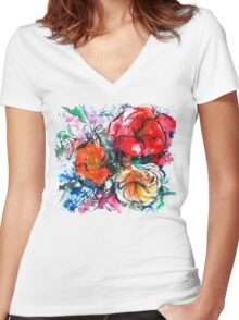 bouquet of peony, ranunculus, poppy, watercolor sketch Women's Fitted V-Neck T-Shirt