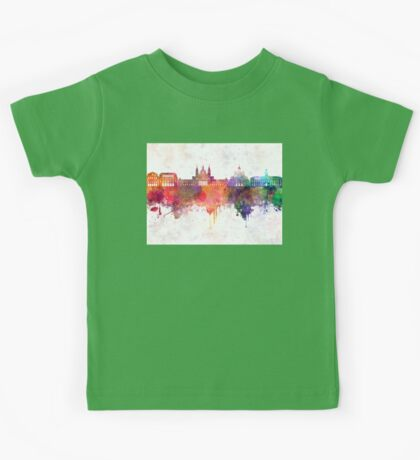 Madrid V2 skyline in watercolor background Kids Tee