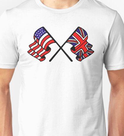 US & UK Crossed Flags Unisex T-Shirt