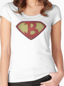 "The Letter B in the Style of ""Man of Steel"" Women's Fitted Scoop T-Shirt"