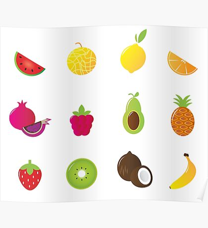 Redbubble fruit Edition : Fruit on white Poster
