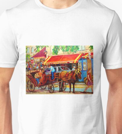 CANADIAN ARTISTS PAINT CANADIAN CITIES OLD MONTREAL OUTDOOR CAFES  Unisex T-Shirt