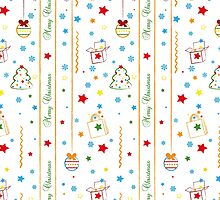 Christmas texture with gifts tree balls ribbon by vinainna