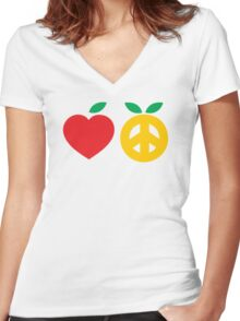 Apple and Orange for Peace of Love Women's Fitted V-Neck T-Shirt