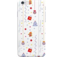Christmas texture with gifts tree stars snowflakes iPhone Case/Skin