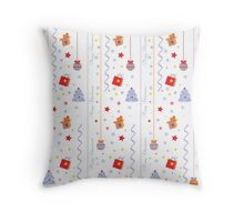 Christmas texture with gifts tree stars snowflakes Throw Pillow