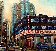 MONTREAL ART DOWNTOWN DELI RESTAURANT CANADIAN PAINTINGS URBAN SCENES by Carole  Spandau