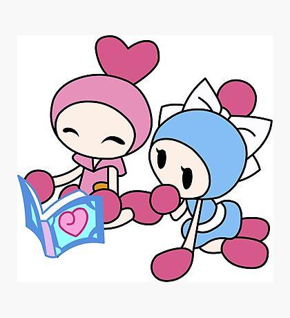 Pink Bomberman + Cyan Bomberman - Super Bomberman R Photographic Print
