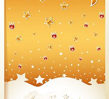 Merry Christmas card with decorations by vinainna