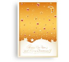 Merry Christmas card with decorations Canvas Print