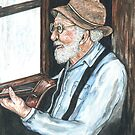 old man by rainy window  by francelle  huffman