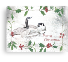 "Nostalgic Geese ""Merry Christmas"" ~ Greeting Card Canvas Print"