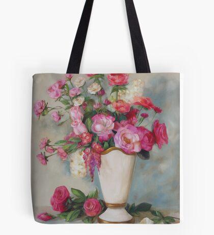 Pink Flowers Oil Painting Tote Bag