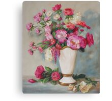 Pink Flowers Oil Painting Canvas Print
