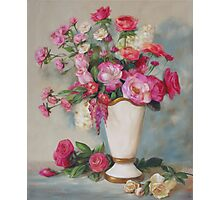 Pink Flowers Oil Painting Photographic Print