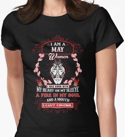 I am a May Gemini Women I was born with my heart on my sleeve Womens Fitted T-Shirt