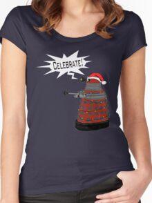 """Festive Dalek -- """"Celebrate!"""" Women's Fitted Scoop T-Shirt"""