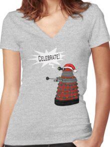 """Festive Dalek -- """"Celebrate!"""" Women's Fitted V-Neck T-Shirt"""