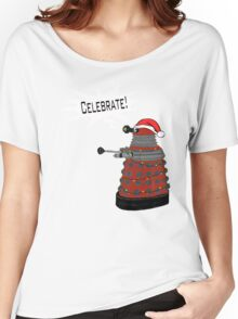 "Festive Dalek -- ""Celebrate!"" Women's Relaxed Fit T-Shirt"