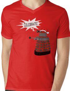 "Festive Dalek -- ""Celebrate!"" Mens V-Neck T-Shirt"