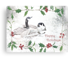 "Nostalgic Geese ""Happy Holidays"" ~ Greeting Card Canvas Print"