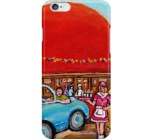 ROADSIDE ATTRACTION MONTREAL DRIVE-IN DINERS CANADIAN CITY SCENES PAINTINGS iPhone Case/Skin