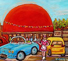 ROADSIDE ATTRACTION MONTREAL DRIVE-IN DINERS CANADIAN CITY SCENES PAINTINGS by Carole  Spandau