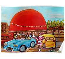 ROADSIDE ATTRACTION MONTREAL DRIVE-IN DINERS CANADIAN CITY SCENES PAINTINGS Poster