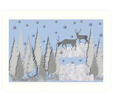 Snow scene with trees and deers Art Print