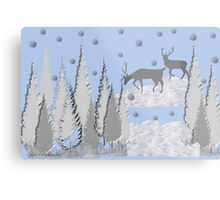 Snow scene with trees and deers Metal Print