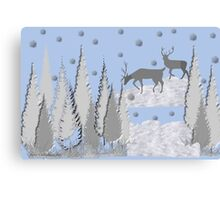 Snow scene with trees and deers Canvas Print