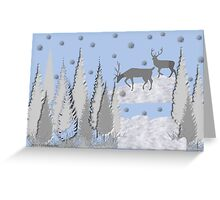 Snow scene with trees and deers Greeting Card