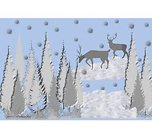 Snow scene with trees and deers Photographic Print