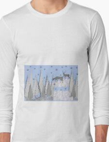 Snow scene with trees and deers Long Sleeve T-Shirt