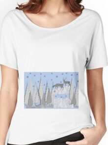 Snow scene with trees and deers Women's Relaxed Fit T-Shirt