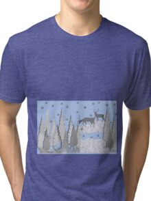 Snow scene with trees and deers Tri-blend T-Shirt