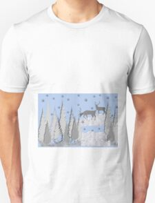 Snow scene with trees and deers T-Shirt