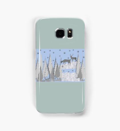 Snow scene with trees and deers Samsung Galaxy Case/Skin