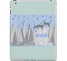 Snow scene with trees and deers iPad Case/Skin