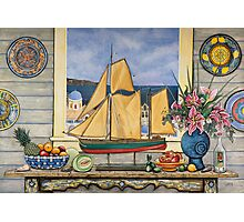 Santorini Model Yacht Photographic Print