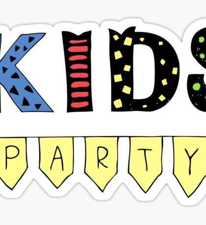 Kids Party lettering, illustration with garlands. Good for header, invitation, banner, greeting card Sticker