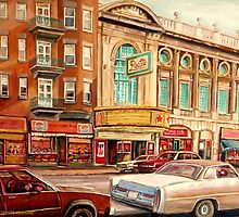 CANADIAN ART CANADIAN PAINTING FAMOUS MONTREAL RIALTO MOVIE THEATRE BY CANADIAN ARTIST CAROLE SPANDAU by Carole  Spandau